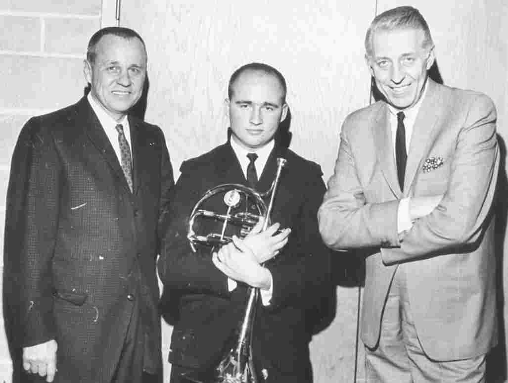 Tony Scodwell with his father (left) and Stan Kenton (right)