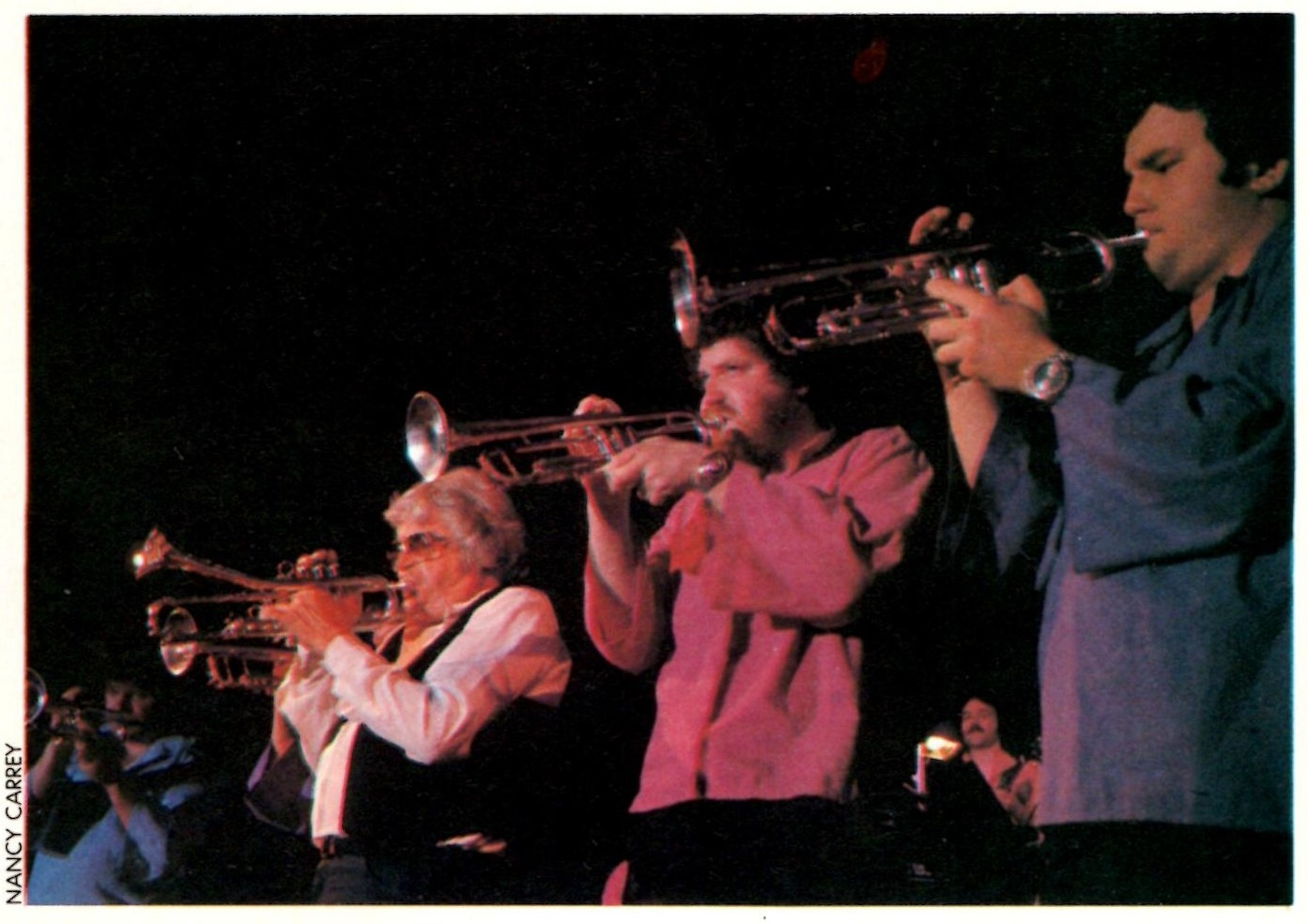 Alan Wise, right, performing with Maynard Ferguson (photo from Downbeat Magazine July 1980)